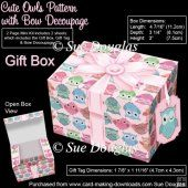 Gift Box Cute Owls Pattern with Bow Decoupage