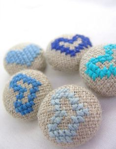 blue hearts - hand embroidered buttons!