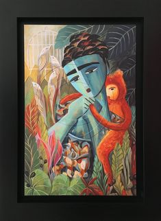 Frida Kahlo With Monkey Painting Great Paintings, Beautiful Paintings, Original Paintings, Canvas Art Prints, Painting Canvas, Kahlo Paintings, Famous Mexican, Mexican Artists, Figurative Art