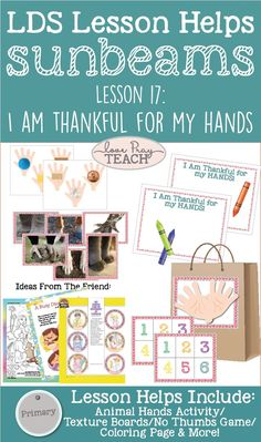 """Sunbeams Manual 1 Chapter 17: """"I Am Thankful for My Hands"""" Lesson Helps and Activity Ideas"""