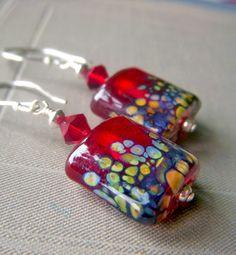 Red Lampwork Earrings on Sterling Silver Artisan by beadstylin,+$24.75
