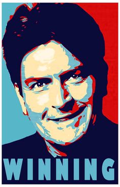 Charlie Sheen Winning Shepard Fairey Art Poster 11x17