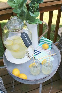 Use fresh fruit syrups to create a fun flavored lemonade bar! Perfect for summer time!