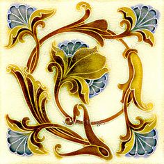 Items similar to Gloss Ceramic Tile - Vintage Art Nouveau Reproduction Tile - Floral Swirl - Various Sizes on Etsy