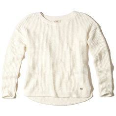 Hollister Slouchy Crew Waffle Sweater ($40) ❤ liked on Polyvore featuring tops, sweaters, cream, white top, bralet tops, cream sweater, waffle knit sweater and waffle top