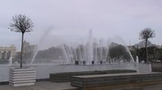 Fountain in Gorky park. The park is the right place for cyclists, scaters, all kind of strollers etc. Moscow, Russia.