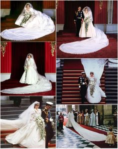 Wedding of Prince Charles and Lady Diana Spencer: The Prince and Princess of Wales - Prince Charles and Princess Diana Diana Wedding Dress, Princess Diana Wedding, Royal Wedding Gowns, Wedding Dress Train, Prince And Princess, Royal Weddings, Wedding Dresses, Prince Charles Wedding, Charles And Diana Wedding