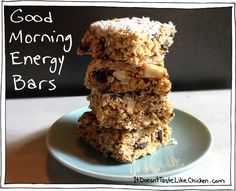 Good Morning Energy Bars. No bake, healthy, vegan bars that will start your day off right. Fuss Free Vegan Recipes by itdoesnttastelikechicken.com