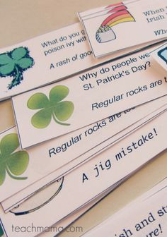 st. patrick's day joke lunchbox love notes | teachmama.com  --> SUPER for lunches. . .kids LOVE 'em!