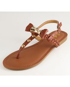 Women's Braided Lynk Sandal With Bow Detail - Cognac