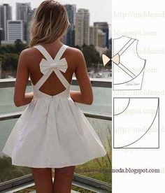 White Sleeveless Mini Dress with Open Cross Bow Back - Nahen Fashion Kids, Fashion Sewing, Diy Fashion, Ideias Fashion, Diy Clothing, Sewing Clothes, Clothing Patterns, Dress Patterns, Pattern Dress