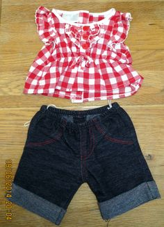 Build A Bear clothes red gingham top & leggings outfit suits red hello kitty