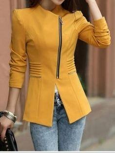 Ladylike Casual  Long Sleeve Blended  Blazer