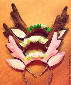 """Купить Ободок """"Рожки в цветах"""" - коричневый, рожки, ушки на ободке, фетр, цветы, ободок для волос"""
