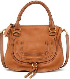 Chloe Marcie Medium Satchel Bag, Tan