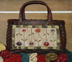 """""""Punchneedle design attached to a basket. Punched using the hand dyed Valdani pearl cotton #12. Love using that thread."""" ~ Attic Heirlooms  http://www.attic-heirlooms.com/"""