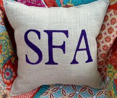 SFA Stenciled Burlap Pillow by BurlapPillowsEtc on Etsy, $40.00