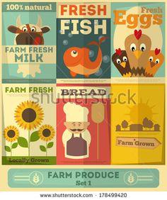Organic Fresh Farm Food Posters Set. Retro Placard in Flat Design Style. Vector Illustration. - stock vector