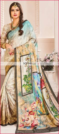Blue and Multi Colored Paper Silk Saree With Floral Print - Latest Indian Saree, Indian Sarees, Silk Sarees, Indian Designer Sarees, Colored Paper, Saree Collection, Wedding Wear, Party Wear, Digital Prints