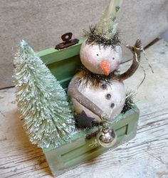 Vintage Style Winter Mint Snowman and Bottle by CatandFiddlefolk, $62.00