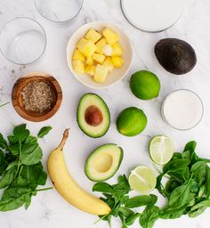 Creamy Avocado Lime Smoothies - A creamy protein-rich vegan smoothie with pineapple, banana, coconut and spinach.