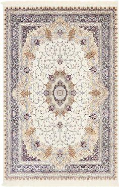 Ivory Tabriz Design Area Rug