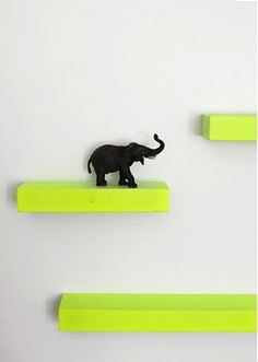 Master bedroom: floating shelves to display trinkets and smaller items. Could I do this by repurposing the children's unused wooden building blocks?