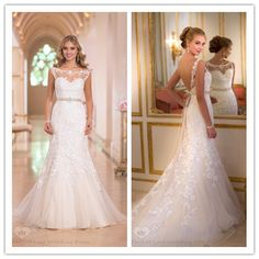 Vestido de noiva 2015 Sexy White mermaild Wedding Dress Scoop Neck Sleeveless sheer Appliques Floor Length dress wedding