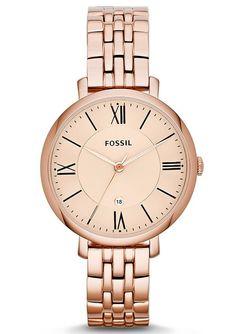 Armbanduhr, Fossil, »Jaqueline, ES3435«. Diese Armbanduhr überzeugt durch ihren klassischen, edlen Look. Die Lieferung erfolgt in einer originellen Dose - auch schön als Geschenkverpackung.Quartzwerk, Zifferblatt roségoldfarben, Datum, Edelstahlgehäuse, roségoldfarben IP-beschichtet, Ø ca. 36 mm, Edelstahlband, roségoldfarben IP-beschichtet, Gesamtlänge ca. 21 cm, Faltschließe, Mineralglas, Was...