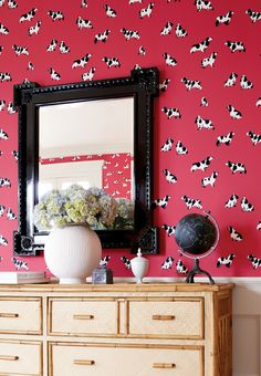 Purebred #wallpaper in #red. #Thibaut
