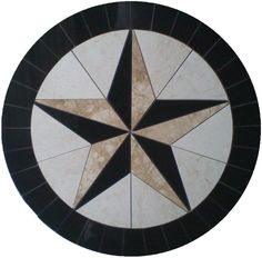 Marble medallion Texas Star.  Custom made - any size & color. Lead time: 2 weeks Model: M-029 Type: Hand made mosaics visit us: www.MedallionUS.com