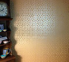 The Stained Glass Stencil by Wallovers looks gorgeous on this wall by Cynthia…
