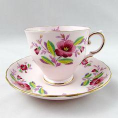 Vintage Tea rosa Toscana taza y plato con flores de color
