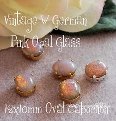 Pink Fire Opal Vintage West German Glass Cabochon 12x10mm Oval in a 4-hole Prong Sew On Setting - Wire Jewelry Supply - Component