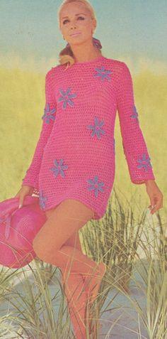 Vintage 1970s Crochet Flowered Mini Dress Pattern PDF 7513. $3.74, via Etsy.