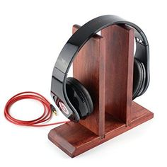 Red Wooden Headphones Stand / Wood Headset Holder / Desk Display Hanger  Fit Aud