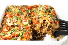 If you're craving south of the border cuisine, then give this super yummy recipe a try! It's a lightened-up, healthy enchilada casserole chockfull of quinoa,