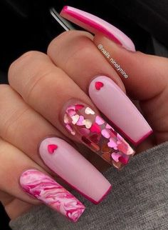 Manicure Nail Designs, Valentine's Day Nail Designs, Acrylic Nail Designs, Nail Manicure, Nails Design, Manicure Ideas, Nail Ideas, Heart Nail Designs, Pink Design