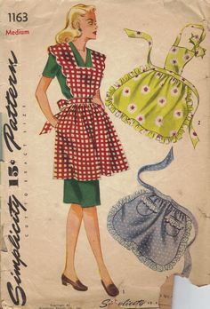 Simplicity 1163 / Simplicity 2351 Vintage Sewing Pattern Misses Half Apron, Full Aprons, Hostess Apron Size Small Vintage Apron Pattern, Retro Apron, Aprons Vintage, Vintage Sewing Patterns, Retro Mode, Mode Vintage, Do It Yourself Fashion, Simplicity Sewing Patterns, Apron Patterns