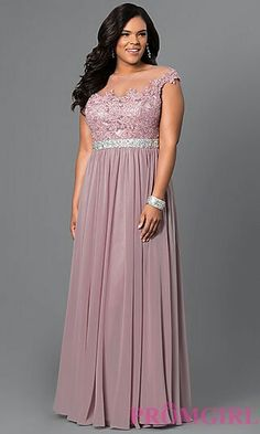 5c9d7f318ca33 Shop taupe long plus-size dresses at PromGirl. Illusion cap-sleeve prom  dresses with beaded lace bodices