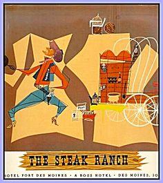Steak Ranch, Cowboy-Themed Vintage Menu, 1959