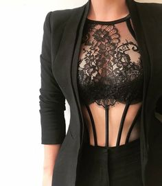 Note to self: Wear more business jackets over lingerie! Note to self: Wear more business jackets over lingerie! Jolie Lingerie, Lingerie Set, Women Lingerie, Fashion Lingerie, Lingerie Underwear, Black Lingerie, Mode Outfits, Sexy Outfits, Fashion Outfits