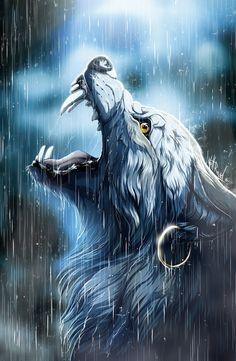 Haurin by WolfRoad on DeviantArt - Selvagem! Anime Wolf, Fantasy Wolf, Fantasy Art, Fantasy Creatures, Mythical Creatures, Wolf Artwork, Werewolf Art, Wolf Wallpaper, Wolf Pictures
