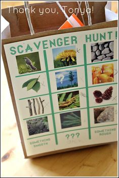 What a great way to collect items from a treasure/scavenger hunt for a party. No chance of forgetting what you're looking for with a bag like this.