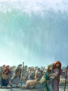With Pharaoh and his army chasing after them, Moses and the Israelites appear to be trapped at the Red Sea. Jehovah God again proves his miraculous power. Christian Artwork, Christian Pictures, Jacob Bible, Parting The Red Sea, Wall Of Water, Arte Judaica, Jesus E Maria, Arabian Art, Jesus Christ Images