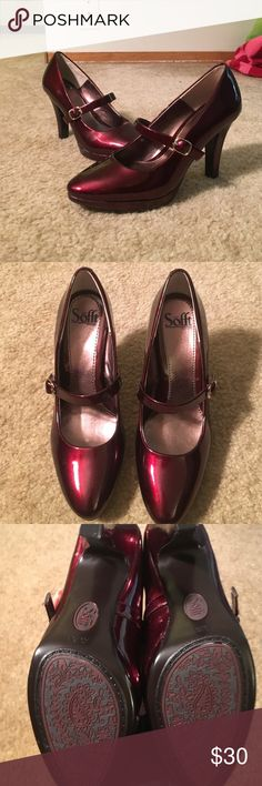 Sofft ruby red Mary Janes Never worn condition Sofft Shoes Heels