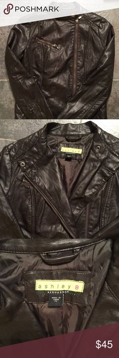 Ashley B Bernardo faux leather Petite S Dark Brown Excellent used condition Ashley B faux leather jacket. Dark chocolate brown size Petite Small. I am not a Petite but this fits me like a regular Small, the sleeves aren't too short at all. Zipper off to the side. Beautiful and sexy! Ashley B Bernado Jackets & Coats