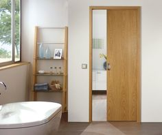 Find Your Perfect Wooden Pocket Doors Ideas For Winning Interior Room Design : Amazing Wooden Pocket Doors Ideas In Stunning Bathroom Design Feats Charming White Bathtub Also Awesome Wooden Bathroom Rack Shelf Ideas