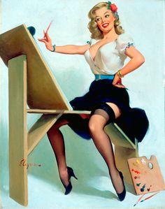 "Pinup Girl Painter | Tattoo Ideas & Inspiration - Pinups | Gil Elvgren - ""The Right Touch"", 1958, Brown & Bigelow"