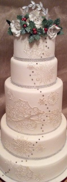 Snowflake lace wedding cake